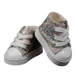 The Queen's Treasures Silver Sparkle High Top Sneaker Shoes For Use with 18-inch Dolls and Doll Clothing