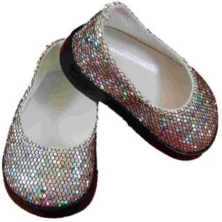 """The Queen's Treasures Silver Glitter Slip On Shoes for Use With 18"""" Dolls and Doll Clothing