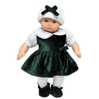 "The Queen's Treasures Bitty Red Velvet Dress, Tights, Shoes & Hat Doll Clothing Outfit for 15"" Girl Baby Doll Clothes"