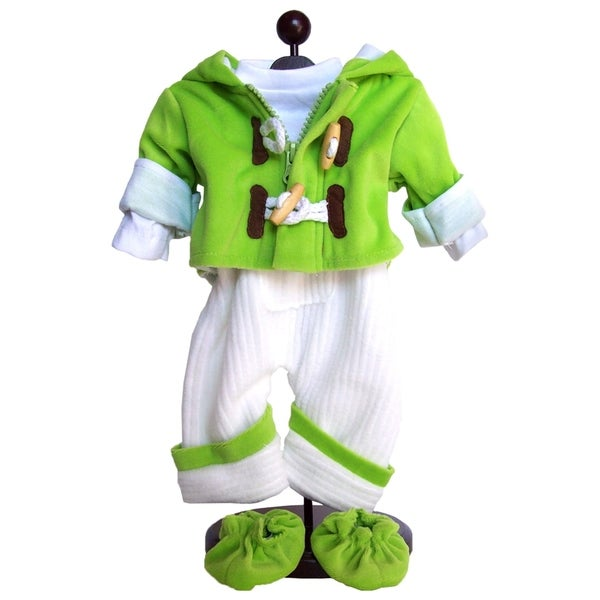 "The Queen's Treasures Green Bitty Fleece Overall Pants, Jacket, Shoes & Shirt Doll Clothing Outfit for 15"" Baby Twin Doll"