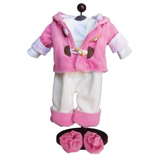 The Queen's Treasures Pink Bitty Fleece Overall Pants, Jacket, Shoes & Shirt Doll Clothing Outfit for 15-inch Baby Twin Doll
