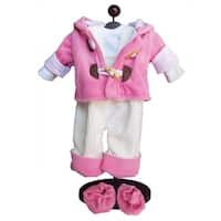 "The Queen's Treasures Pink Bitty Fleece Overall Pants, Jacket, Shoes & Shirt Doll Clothing Outfit for 15"" Baby Twin Doll"