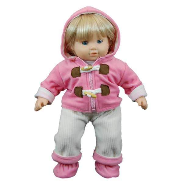 """The Queen's Treasures Pink Bitty Fleece Overall Pants, Jacket, Shoes & Shirt Doll Clothing Outfit for 15"""" Baby Twin Doll"""
