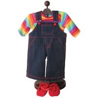 "The Queen's Treasures Bitty Twin Rainbow Overall Pants, Shirt & Shoes Doll Clothing Outfit Fits 15"" Baby Twin Doll Clothes"