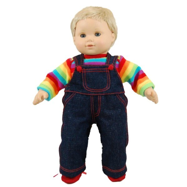 """The Queen's Treasures Bitty Twin Rainbow Overall Pants, Shirt & Shoes Doll Clothing Outfit Fits 15"""" Baby Twin Doll Clothes"""