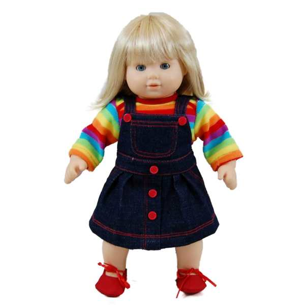 "The Queen's Treasures Bitty Twin Rainbow Overall Skirt, Shirt & Shoes Doll Clothing Outfit Fits 15"" Baby Twin Doll Clothes"