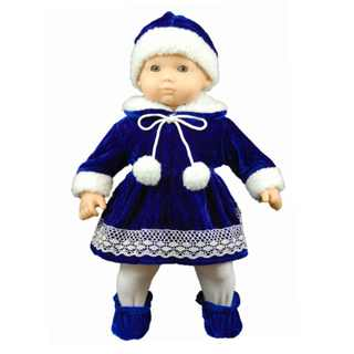 "The Queen's Treasures Bitty Winter Wonderland Dress, Hat, Tights, Shoes Doll Clothing Outfit Fits 15"" Baby Doll Clothes"