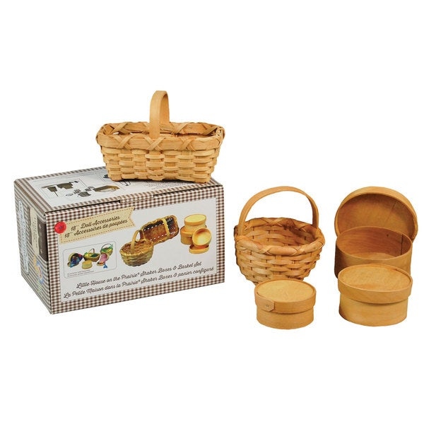 """The Queen's Treasures Officially Licensed Little House on the Prairie 18"""" Doll 3 Shaker Boxes and Baskets Accessory Set"""