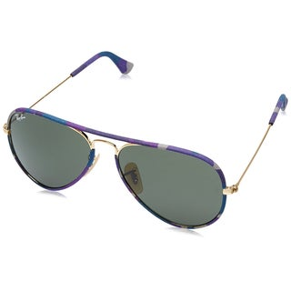 Ray Ban Men's Aviator Camouflage RB3025JM-172 Sunglasses, Gold/Green, 55MM
