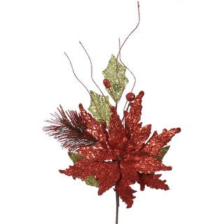 Vickerman 19-inch Red and Lime Poinsettia Spray
