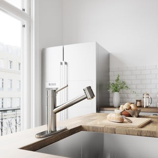 VIGO Branson Stainless Steel Pull-Out Spray Kitchen Faucet with Deck Plate