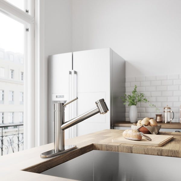 VIGO Branson Stainless Steel Pull-Out Kitchen Faucet with Deck Plate