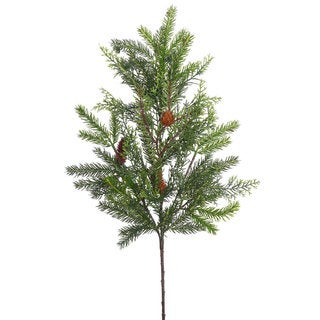 28-inch Cedar and White Spruce Spray With Cones and 30 Tips