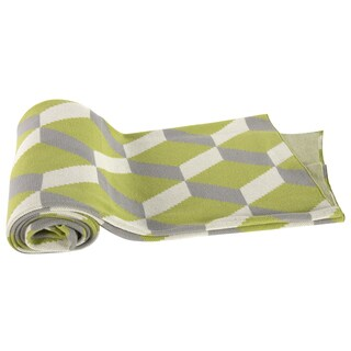 Green Geometric Cotton Cashmere Throw