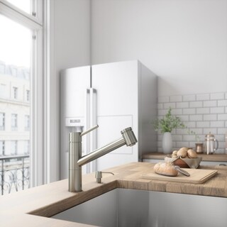 VIGO Branson Stainless Steel Pull-Out Spray Kitchen Faucet with Soap Dispenser