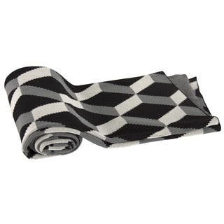 Black Geometric Cotton Cashmere Throw