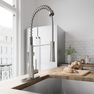 VIGO Laurelton Stainless Steel Pull-Down Spray Kitchen Faucet with Deck Plate