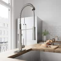 VIGO Laurelton Pull-Down Spray Kitchen Faucet With Deck Plate In Stainless Steel