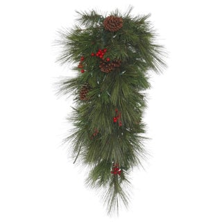 Vickerman Big Cascade 36-inch Faux Berry Pine Teardrop Swag With 180 Tips