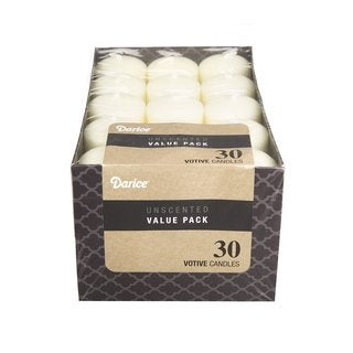 Darice Unscented Ivory White 12-hour Votive Candles (Pack of 30)