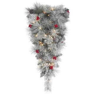 Vickerman 30-inch Frosted Mix Berry Pine Teardrop Swag with 35 Clear Lights