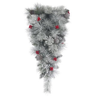 Vickerman Frosted Plastic 30-inch Mixed Berry Pine Teardrop Swag with 78 Tips