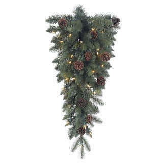 Aberdeen Spruce 30-inch Teardrop Swag With 35 Clear Lights