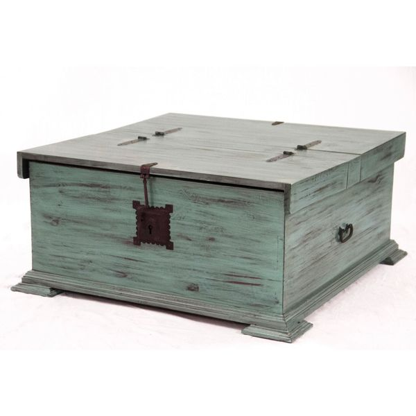 Progressive Turquoise/Antique White Pine Francisca Cocktail Trunk - Shop Progressive Turquoise/Antique White Pine Francisca Cocktail