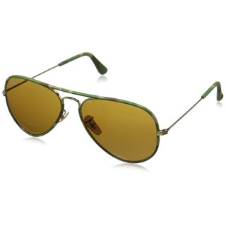 Ray-Ban Men's RB3025JM Aviator Camouflage Sunglasses, Shiny Gold/Brown, 55MM