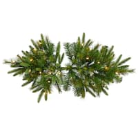 "36"" Pre-Lit Battery Operated Mixed Pine Cashmere Christmas Swag - Clear Lights"