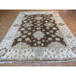 Oriental Brown Oushak with Wool Hand-knotted Rug (9' x 11' 11 inches)