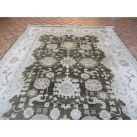 Brown Wool Hand-knotted Oushak Oriental Rug - 9'5 x 11'10