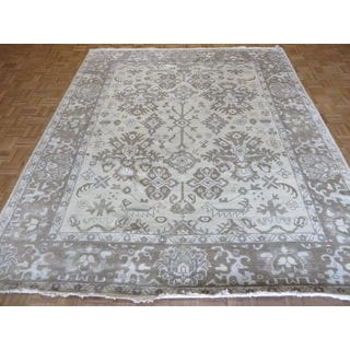 Oriental Hand-knotted Beige Oushak with Wool Hand-knotted Rug (8'3 x 9'11)