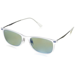 Ray-Ban RB4225 New Wayfarer Light Ray Sunglasses, Matte Transparent Green, Mirror Green/Shiny Silver, 52MM