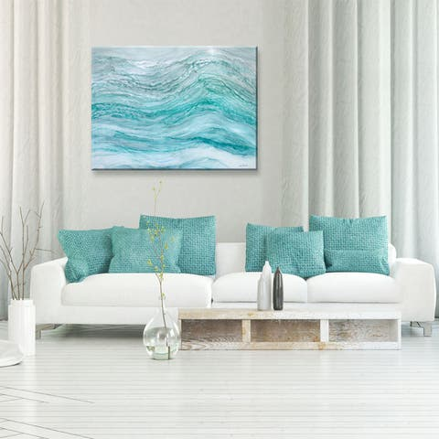 Neptune's Fury' by Norman Wyatt Jr. Abstract Wrapped Canvas Wall Art