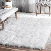 nuLOOM Faux Flokati Sheepskin Soft and Plush Cloud White Shag Area Rug