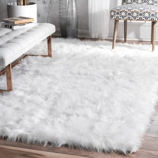 Nuloom Faux Flokati Sheepskin Solid Soft And Plush Cloud White Shag Rug 5 X