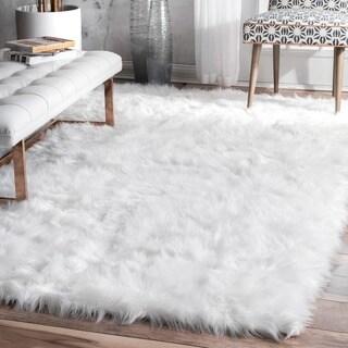 nuLOOM Faux Flokati Sheepskin Soft and Plush Cloud White Shag Area Rug