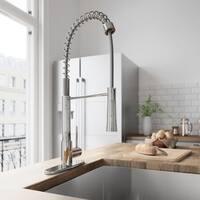 VIGO Laurelton Chrome Pull-Down Spray Kitchen Faucet with Deck Plate