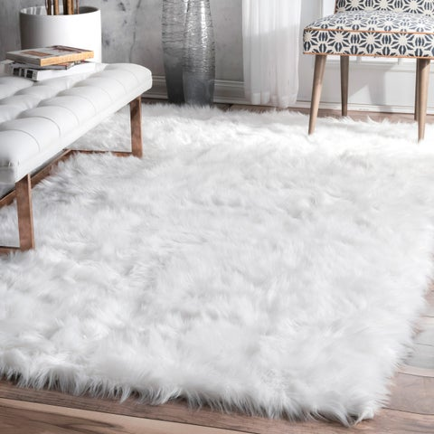 nuLOOM Faux Flokati Sheepskin Solid Soft and Plush Cloud White Shag Rug - 7'6 x 9'6