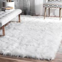 "nuLOOM Faux Flokati Sheepskin Solid Soft and Plush Cloud White Shag Rug (7'6 x 9'6) - 7'6"" x 9'6"""