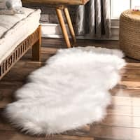 nuLOOM Double Faux Flokati Sheepskin White Shag Runner Rug