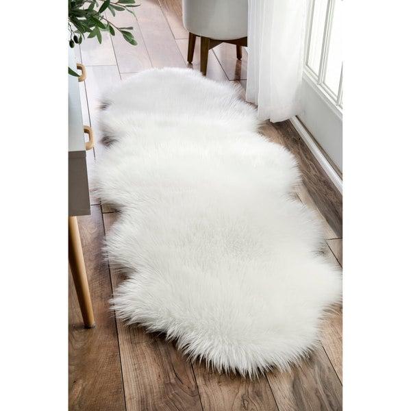 nuloom faux flokati sheepskin white shag runner rug 2 x 6