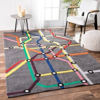 nuLOOM Handmade Kids' Subway Map Wool Rug (3'6 x 5'6)