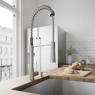 VIGO Laurelton Stainless Steel Pull-Down Spray Kitchen Faucet with Soap Dispenser