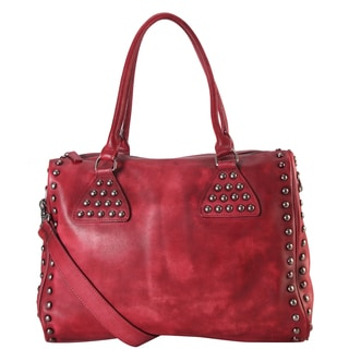 Diophy Genuine Decor Design Leather Studded Large Tote Bag