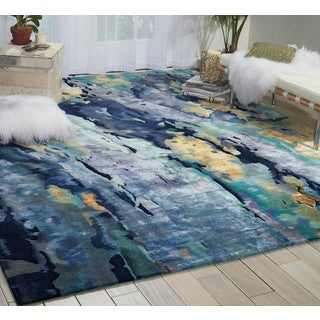 Nourison Prismatic Silver/Blue Area Rug (3'9 x 5'9)