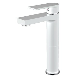 Adrian Style Matte White Solid Brass Single-hole Lever Bathroom Vanity/Lavatory Faucet