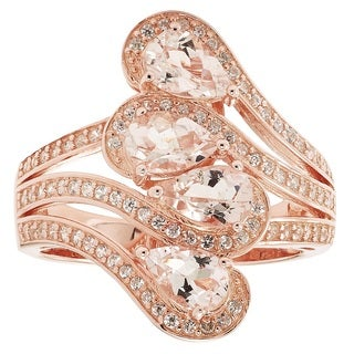 14k Rose Goldplated Sterling Silver Morganite and White Zircon Ring