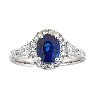 18k White Gold Ceylon Blue Sapphire and Diamond Bridal Ring by Anika and August